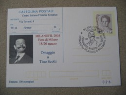 CARTOLINA POSTALE MILANOFIL 2005 CENTENARIO NASCITA TINO SCOTTI - Attori