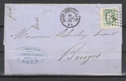 30 S/lettre De Gand (St Sauveur) Pour Bruges. - 1869-1883 Leopold II
