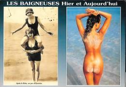 CARTE POSTALE ORIGINALE : COUPLE DE JEUNES FEMMES BAIGNEUSES D´HIER ET PIN UP SEXY EROTIC NUE  D´AUJOURD´HUI - Pin-Ups