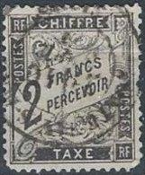 FRANCE - 2 F. Duval Noir Oblitéré Défectueux - Taxes