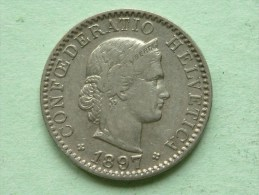 1897 B - 20 RAPPEN / KM 29 ( Uncleaned - For Grade, Please See Photo ) ! - Suisse