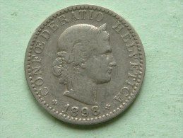 1898 B - 20 RAPPEN / KM 29 ( Uncleaned - For Grade, Please See Photo ) ! - Suisse