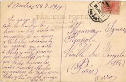 7668. Postal SAN ANDRES PALOMAR (Barcelona) 1911. AMBULANTE Ferrocarril - 1889-1931 Reino: Alfonso XIII