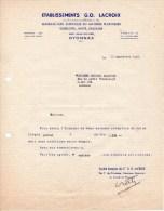 Facture - Lettre (1948) - Articles En Matières Plastiques - Ets G. O. LACROIX - OYONNAX (Ain) - Francia