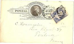 LBL5 - ETATS UNIS EP CP REPIQUEE + COMPL.T WASHINGTON / TOULOUSE 27/7/1888 - Entiers Postaux