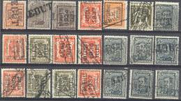 3Rv638: Restje Van 21zegels. Met REBUT-stempels.... Om Verder Uit Te Zoeken.... - Préoblitérés