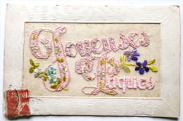 CPA JOYEUSES PAQUES BRODEE AVEC FLEURS - Embroidered