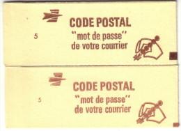 France - 2 Carnets Fermés Yvert N° 1974-C2a - Variété Sur N° De Confectionneuse - Voir Scan Et Description - Carnets