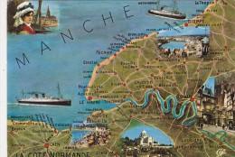 Cp , 50 , LA CÔTE NORMANDE , Carte Géographique - France