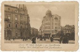 Lwow Lemberg Ul. Karola Ludwika I Rog Jagiellonskiej Tramway Tram Salonu Malarzy - Ukraine