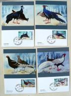THAILANDE Faisans, Pheasant  Cartes Maximums FDC. Serie Complete. - Gallinacées & Faisans