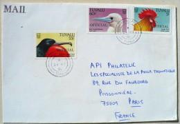 TUVALU Poule, Gallinacée, Coq, Lettre Ayant Voyagée  24/05/1991. Timbres Surchargés OFFICIAL - Gallinacées & Faisans