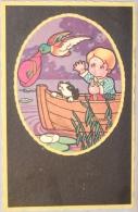 Illustrateur. Enfant Dans Petit Bâteau, Chien Et Canard. Chasse. - Altre Illustrazioni