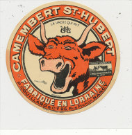 JM 279 / ETIQUETTE DE FROMAGE-  CAMEMBERT    ST HUBERT   LA VACHE QUI RIT FAB. EN LORRAINE P. COUILLARD  NANCY - Fromage