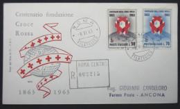 Cover Italia Italy Italien, 1963, R-Brief, Reco, Registered Letter, Centenario Fondazione Croce Rossa, Rotes Kreuz - 6. 1946-.. Republic