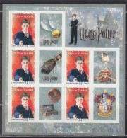 Harry Potter - Ron Weasley - Hermione Granger Autocollant Feuillet 5 TVP Rouge, N°F114 Neuf - Adhesive Stamps