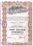 Titres Disparus De La Cote METALLURGIQUE DE PRAYON FONDEE EN 1882 ET FERMEE EN 1976 - Industrie