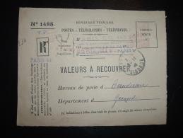 DEVANT LR PROVISOIRE VALEURS A RECOUVRER EMA C 1632 à 900 Du 31 X 46 PARIS 81 (75) + GRIFE PARIS 81 - Postmark Collection (Covers)