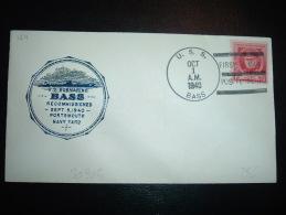 LETTRE TP USA 2C OBL.MEC. OCT 1 1940 U.S.S. BASS + U.S. SUBMARINE BASS - Submarines
