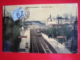 CPA   ENGHIEN LES BAINS-VUE DE LA GARE-TRAIN-ANIMEE - Enghien Les Bains