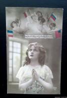 """Patriotique - Militaria 14/18 - """"  Mon Dieu  Aux Drapeaux Allies Donnez La Victoire.. ."""" Enfant, Anges - Guerre 1914-18"""