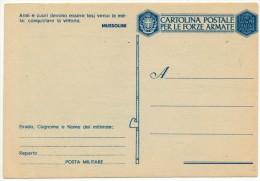 2' GUERRA FRANCHIGIA CARTOLINA POSTALE PER LE FORZE ARMATE - 1900-44 Vittorio Emanuele III