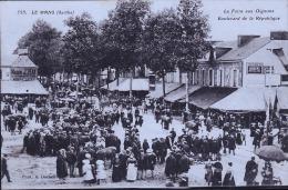 LA MANS FOIRE AUX OIGNONS TAMPON RARE AU DOS COMMIS MILITAIRE GARE 1916 - France
