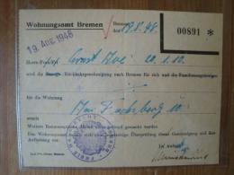 Wohnungsamt Bremen, Rückkehrgenehmigung Nach Bremen, Von 1948 ! - 1939-45