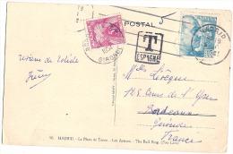 Carte Postale De Madid Espagne  Taxée En France - Avec Cachée Taxe Espagnole  - - Covers & Documents