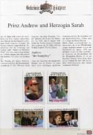 Erinnerungsblatt Hochzeit 1986 Sarah/Andrew Grenadinen 497/0ZD+GBl ** 20€ Charles,Lady Di/Familie Honey-moon Set Vincent - St.Vincent (1979-...)