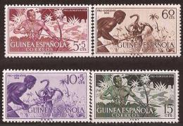 GUI334-L4255.Guinea Guinee GUINEA ESPAÑOLA  PRO INDIGENAS.CAZADORES.1954. ( Ed 334/37**) Sin Charnela LUJO - Guinea Española