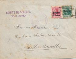 208/22 - Lettre TP Germania DEUX ACREN 1917 Vers Ixelles - Censure De ATH - Expéd. Comité De Secours - [OC1/25] Gouv. Gén.