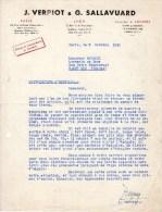 Lettre (1950) - Ets J. VERPIOT Et G. SALLAVUARD - LYON - PARIS - LONDRES - France