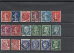 FRANCE - LOT DE  18 TIMBRES OBLITERES - 1907/1947 - COTE YT 2014: 17.40€ - Colecciones Completas