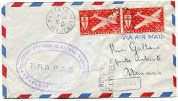 TAHITI FRANCE LIBRE  LETTRE PAR AVION DEPART PAPEETE 31-10-47 ILE TAHITI ARRIVEE NOUMEA 6-11-47 Nelle CALEDONIE - Tahití