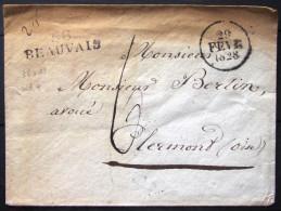 MARQUE LINEAIRE 58 BEAUVAIS  --  OISE  --  36 X 11  --  1828  --  INDICE 4 - 1801-1848: Précurseurs XIX