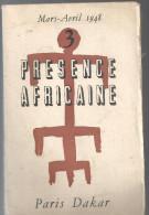 Revue N°3 Présence Africaine De Mars-avril 1948 Sommaire En Pièce Jointe - Politique