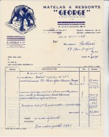 FACTURE ILLUSTREE MATELAS GEORGE  - LYON  - 1955- THEMATIQUE ELEPHANT - France