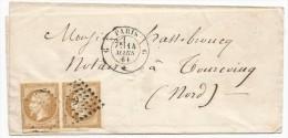 """- Lettre - SEINE - PARIS - Losange """"G"""" S/paire Du TPND N°13B Type II + Càd """"G"""" - 1861 - 1853-1860 Napoléon III"""