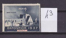 FRANCE. TIMBRE. VIGNETTE.. EXPOSITION. PARIS. 1937...............BRETAGNE - Tourisme (Vignettes)