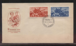 CZECHOSLOVAKIA FDC 1952 7TH ANNIV LIBERATION BY THE SOVIET RED ARMY SET OF 2 USED MILITARIA ARMY WW2 TANKS SOLDIERS - FDC