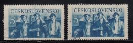 Czechoslovakia Scott #413 5k 3 Workers Leaving Factory Variety: Dot Below 'L' In 'CESKOSLOVENSKO'  POFIS #545 DV 17/1 - Errors, Freaks & Oddities (EFO)
