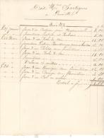 Facture 1872 Lauriette Sainte Livrade, Couturière - Travaux à Façon Du 1er Trimestre - Textile & Vestimentaire