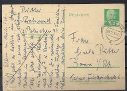 DDR Ganzsache 1956 Wilhelm Pieck P 68 P68 10 Pf. Stralsund 5.12.56 Nach Bonn - Postkarten - Gebraucht