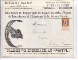 """Typos 38-B ( Gent 1-1913) S/très Bel Imprimé Publicitaire Illustré""""A.PIAT""""PIATYL"""" V.Rebecq - Préoblitérés"""