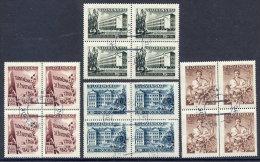 SLOVAKIA 1943 Culture Fund Used Blocks Of 4.  Michel 128-31 - Usados