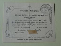 Societe Amicale Des Anciens Eleves Du Groupe Pasteur Clichy Fete De Famille 15 Janv 1911 - Announcements