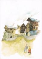 Aquarelle De Guy AMEYE - Paysage De Montagne Avec 2 Personnages -  Circulée En 1984, 2 Scans - Autres Photographes