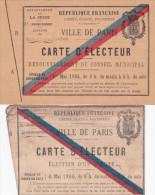 1904 CARTE D'ELECTEUR Complète (SUP) RENOUVELLEMENT CONSEIL MUNICIPAL Paris St Ambroise + Carte 1906 - Documentos Históricos