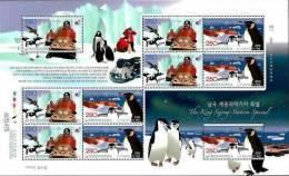 South Korea 2008 Antarctic Station Penguin Minisheet MNH - Polar Philately